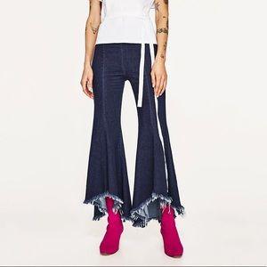 Zara Women Asymmetrical Frayed Jean